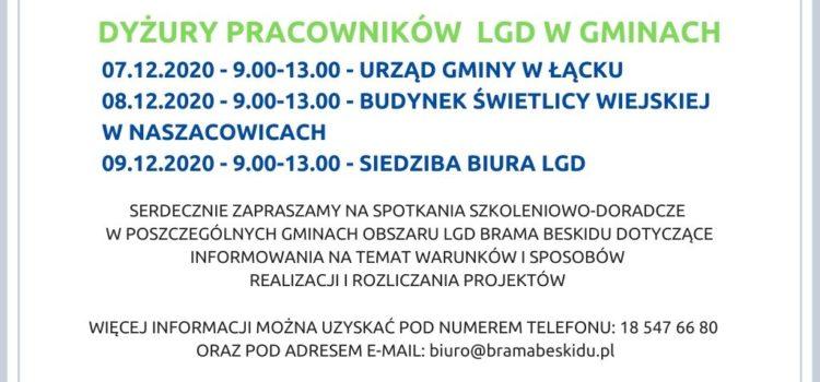 Dyżury pracowników LGD w gminach